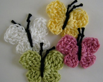 Crocheted Butterflies - Yellow, Rose Pink, Lime Green and White - Cotton Butterflies - Crocheted Butterfly Appliques