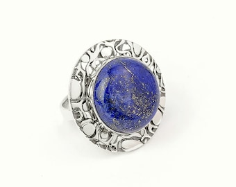 Lapis lazuli ring / Blue ring / Lapis & Sterling Silver Ring / Round ring / Handmade jewelry / Gift Ideas