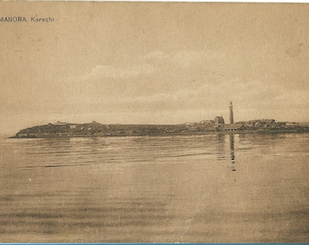 Antique Sepia Postcard - Manora, Karachi, Pakistan - Circa 1900