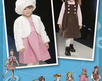 Girl's Dress or Jumper, Jacket or Vest and Hat, Simplicity 2828 Sewing Pattern, Multi-Size 3, 4, 5, 6, 7, 8, Uncut Pattern