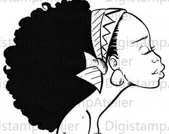 Black Afro. INSTANT DOWNLOAD Digital Digi Stamps