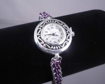 Chainmaille Wrist Watch Purple and Silver FP chainmail timepiece adjustable silver tone clasp Japan Quartz stainless steel ShadowCutter