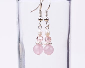 Pearl and Rose Quartz earrings | Gemstone and freshwater pearls with pink beads | Small dangle earrings | Crystal Gemstone wedding jewelry