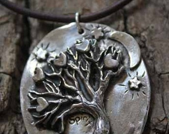 Moon and Stars Tree of Life Necklace
