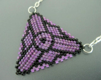 Peyote Triangle Pendant / Beaded Pendant in Lilac and Black /  Seed Bead Pendant / Beadwoven Pendant / Beaded Geometric Necklace / Beadwork