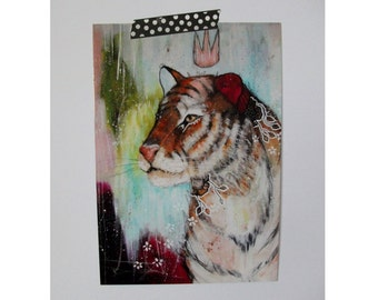 Tiger glossy oversized postcard poster print tiger painting art print A5 size - Forgotten Magick