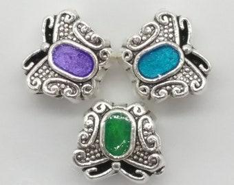 3 Butterfly European Big Hole Charm Bead Bracelet Findings Silver Tone 10*10mm