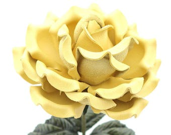 Leather Flower Yellow Leather Rose Third Anniversary 3rd Leather Anniversary Ninth Wedding Anniversary Gift Long Stem Rose