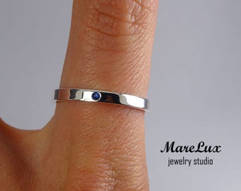 Natural Sapphire Sterling Silver Band, Thin Sapphire Wedding Band, Engagement Ring September Birthstone 1.5 mm Round Cut Blue Sapphire Ring
