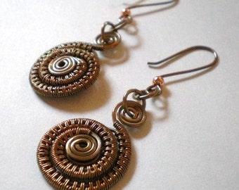 Wire Woven Spiral Earrings, Copper Wire Weave Earrings, Fossil Shaped Earrings
