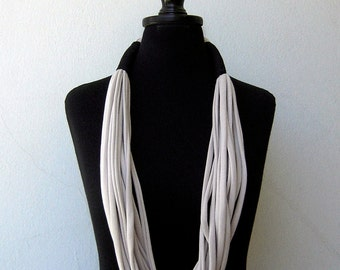 The tribal necklace - handmade in black and ivory jersey fabric