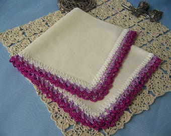 Custom Handkerchief, Hanky, Hankie, Ladies, Women's, Hand Crochet, Lace, Personalized, Embroidered, Custom Colors, Ready to ship