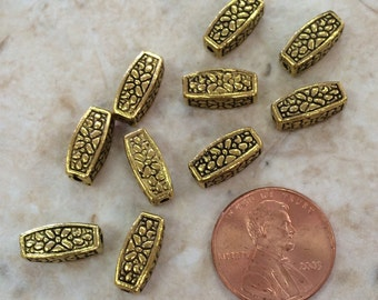 Antique Gold Plated Flowery Tube Beads / Set of 10