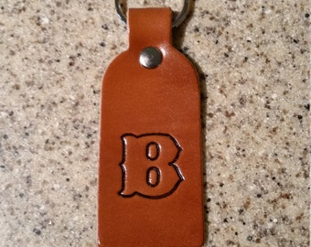 Leather key chain with initial, monogram, personalized, key fob, key tag, keychain