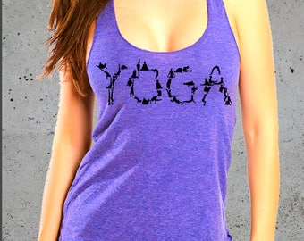 Yoga Tank Top, YOGA POSES, Yoga Clothes Women, Yoga T-Shirt, Yoga Clothing, Racer Back Tank Top American Apparel Tri-Blend Tee S M L