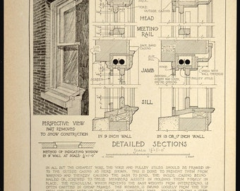 Architectural Print Detail Window Antique Architecture Drawing