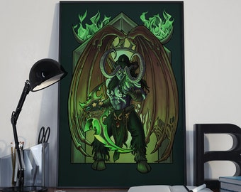 No Sacrifice Too Great - Print - Illidan Stormrage World of Warcraft Art Nouveau