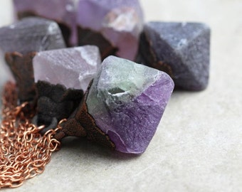 Electroformed Crystal Pendant - Fluorite Necklace - Raw Crystal Pendant - Purple Crystal Necklace