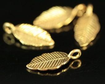 KG-154 thai karen hill tribe handmade silver 4 gold vermeil leaf charm
