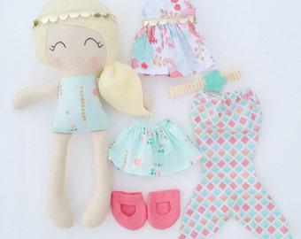 Dress up doll - fabric doll  - handmade doll - modern rag doll - girls room decor - girls toy - cloth doll