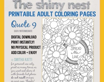 Adult Coloring Quotes, Digital Download, Grown up coloring pages, Easy coloring page, Printable Quotes, Quote 9