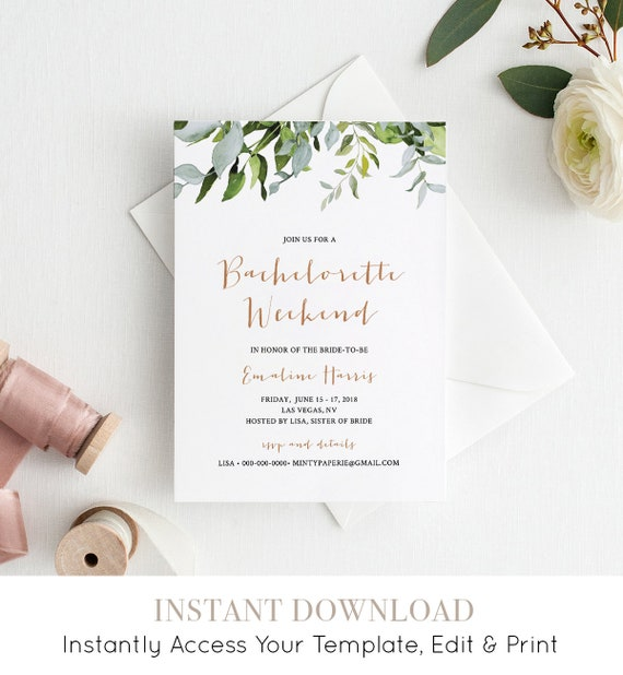 Bachelorette Party Weekend Invitation & Itinerary / Agenda, Spa Weekend Invite, Editable Template, Instant Download, Printable #016-110BP