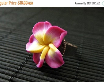 MOTHERS DAY SALE Fuchsia Flower Ring. Plumeria Ring. Polymer Clay Ring. Frangipani Flower Ring. Copper Adjustable Ring. Flower Jewelry. Hand