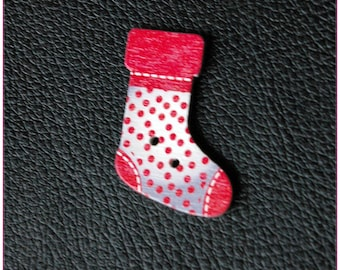 Christmas socks pattern wooden buttons 14 x 1