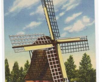 Windmill Park Holland Michigan linen postcard