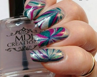 Clear Watermarble Polish~ create clear negative space water marble designs, mix clear paint in nail art 5 free Indie Polish by MDJ Creations