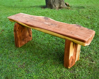 Natural Live Edge Cedar Bench