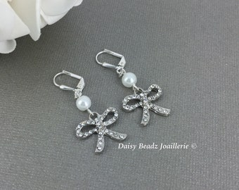 Dangle Earrings Bow Tie Earrings Rhinestones Earrings Bridesmaid Gift for Her Thank you for helping me tie the knot Ribbon Earrings for Her