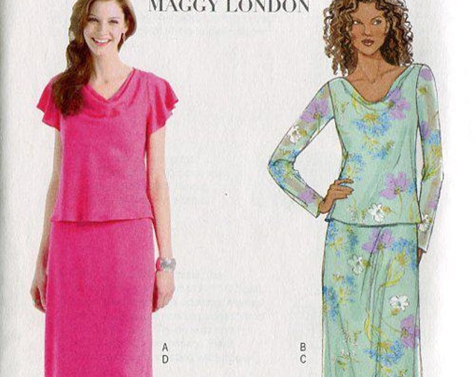 FREE US SHIP Butterick 4511 Maggy London Draped Top Skirt 2005 Out of Print Size 8 10 12 14 Bust 31 32 34 36
