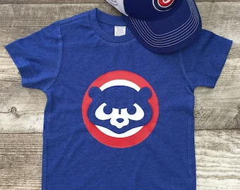 Boys Unisex Chicago Cubs Cubbies Bear Baseball T Short Sleeve T Shirt Baby Blue Red modern graphic trendy Tee Infant Toddler Kid TSLM