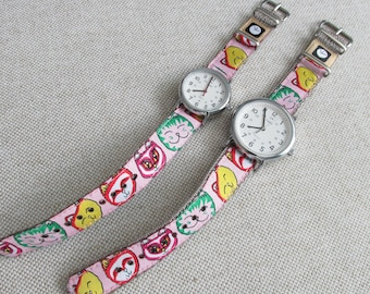 NEW! Pink Cats! Watch Strap, 16mm or 20mm Watch Band for Timex Weekender Watch, Band Only, Replacement Strap in 2 Widths