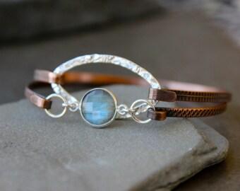 Set of 2 Skinny Copper  Bangle bracelets , Mixed metal bangle,Layering stacking bangles , Gemstone bracelets