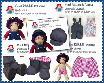 """Bulk Doll Clothes Patterns (for 8"""", 10"""", 12"""", 15"""", 18"""" and 20"""" dolls) PDF INSTANT DOWNLOAD"""