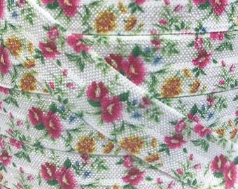 """5/8"""", Floral Print FOE, Floral Elastic, Flowers Elastic, Fold Over Elastic, DIY Hair Ties, Elastic Hair Ties, Floral Hair Ties, Wholesale"""
