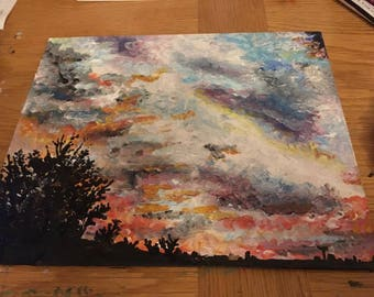 A beautiful sunset, painting in acrylic