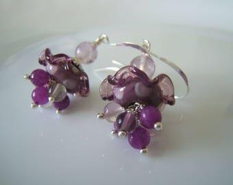 Purple dangle earrings 'flouncy'