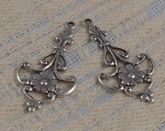 LuxeOrnaments Antique Silver Filigree Floral Pendant (Qty 2) 37x21mm S-5353-S
