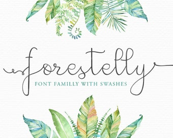 Calligraphy Font Forestelly, Wedding  Digital font - modern elegant typeface - Photography Logo