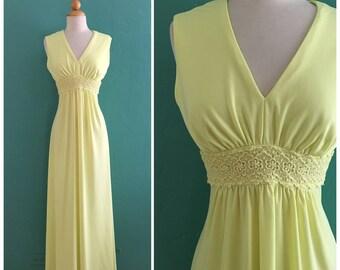 vintage 60's yellow maxi dress // hippie maxi dress