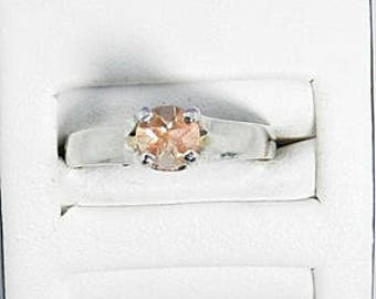 Oregon Sunstone ring- sterling silver ring -Anniversary gift Oregon Sunstone - Schiller Oregon Sunstone  - Snowflake - solitaire Ring #42