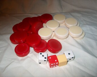 27 Vintage Red & White Bakelite Plastic Game Pieces, 4 Dice, Crafts, Jewelry