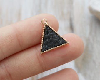 10 Triangle Charms, Modern Charm, Leather Charm, Gold Framed Charm, Geometric Charm, Minimal Charm, 16mm,