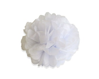 8 Inch White Tissue Pom Poms - Paper Party Decor Decoration Supplies