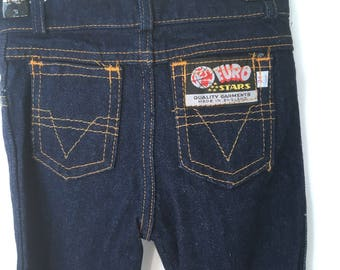Vintage kids 1970s Euro Stars dark denim slim fit jeans, straight cut, made in England 70s jeans, Size 4Y