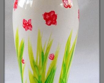 Hand painted vase, Single stem vase,  Floral design, Miniature vase