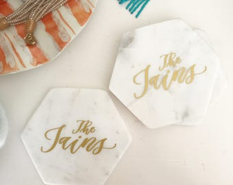 Personalized Marble Coasters - White Marble Coasters - Personalized Coasters -Coaster Set -Drink Coasters - Housewarming Gift - Wedding Gift